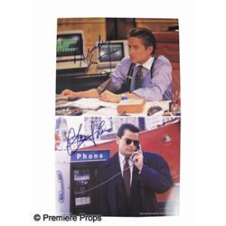 Wall Street Signed Michael Douglas and Charlie Sheen Lobbycards
