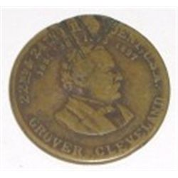 Original Old *GROVER CLEVELAND* Commemorative Coin *22nd & 24th President. Coin has damage!