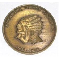 1871-1971 *ARROWSMITH, ILLIONOIS* Indian Head Souvenir Coin - Nice Shape!!
