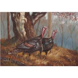 MWF1383Q 5x7 Oil on Board Depiciting Wild Turkey Scene