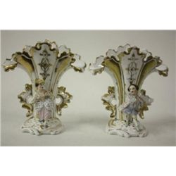Pair mid 19th Century Porcelain Flair Vases