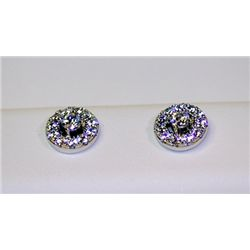 Lady's Antique Style Sterling Silver Diamond Earrings