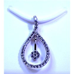 Lady's Very Fancy Sterling Silver  Tear Drop  Diamond Pendant