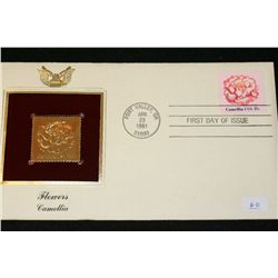 1981 First Day Issue Gold Replica Stamp w/Stamps, Flowers-Camellia