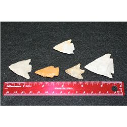 Vintage Indian Arrowhead, lot of 5