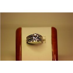 Lady's Fancy 14kt White Gold White Sapphire &amp; Diamond Ring