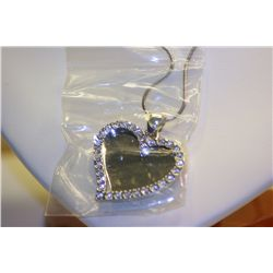 Lady's Beautiful 14k White Gold Diamond  HEART  shaped Necklace