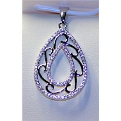 Lady's Stylish/Fancy Sterling Silver Diamond Pendant