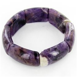 325twc Natural Amethyst Stretch Bangle Bracelet (JEW-3452)