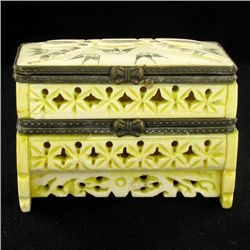 Chinese Handcarved Bone Double Gem Box (CLB-856)