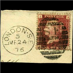 1864 GB 1p Red Stamp w/ Nice Cancel On Piece (STM-0709)