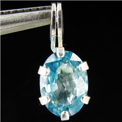 2.09twc Blue Zircon Sterling Pendant (JEW-2668)