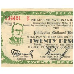 1942 Philippines 20 P Guerrilla Note WW2  (COI-961)