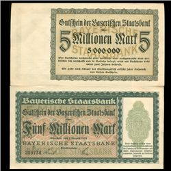 1923 Germany Bavaria Bank 5mm Mark Note Unc Rare (CUR-05678)