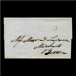 1840s Boston Stampless Cover SCARCE (STM-2021)