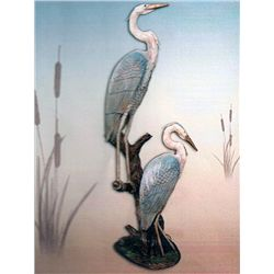 Bronze Sculpture - Blue Herons by D. Scott