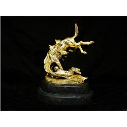 Limited Edition 24K Gold Layered Bronze Sculpture- Wicked Pony by F. Remington