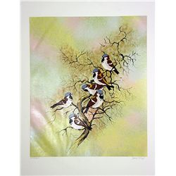 Max Karp Hand Signed and Numbered Serigraph - Snow Birds