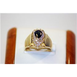 Lady's Unique Style 14 kt Yellow Gold Sapphire/Diamond Ring