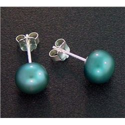 7 Mm Indigo Blue Pearl Stud Earrings