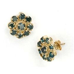 1.50 Ctw. Blue Diamond Earrings In 14ky Gold Setting
