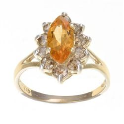2.0 Ctw. Citrine &amp; Diamond Ring In 10ky Gold