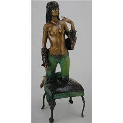 """Woman On Stool"" Bronze Sculpture - Jotocu"