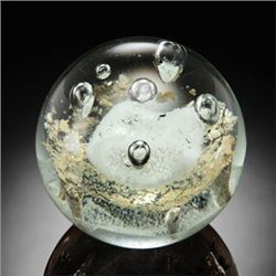 "Art Glass Gold Leaf Bubble Sphere 3.5"" Dia"