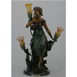 """Seated Woman On Tree"" Bronze Sculpture Lamp - A. Moreau"