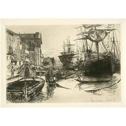 "1880 Bacher Original Etching ""View In Venice"""