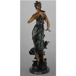 """Woman In Wind"" Bronze Sculpture - A. Moreau"