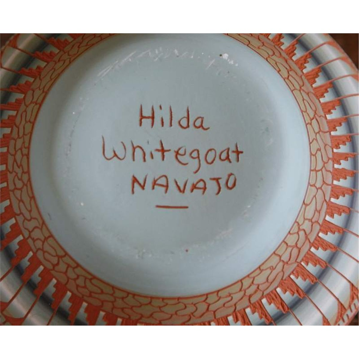 Native American Pottery, etched Signed: Hilda Whitegoat. Navajo