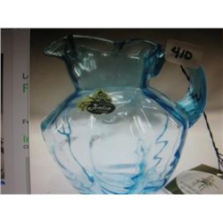 Fenton Aqua Blue Glass Syrup Pitcher