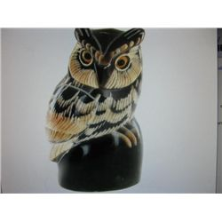 Scrimshaw Great Horned Owl made from Water Buffalo Horn