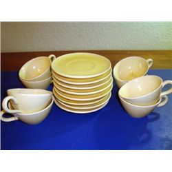 Set of 8 French coffee cups and plates Provence