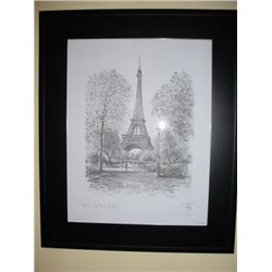 French print of Paris Eiffel Tower with frame