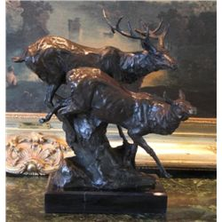 Marvelous Bronze Sculpture Male & Female Elk