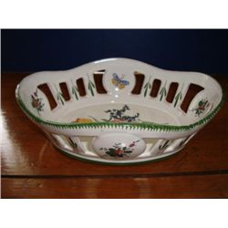French hand painted earthenware bread basket signed