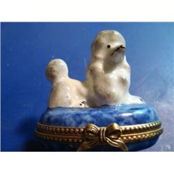 Authentic hand-painted porcelain poodle Limoges box