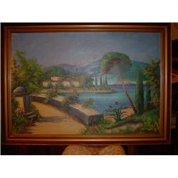 Painting Oil on canvas Greek willage circa 1950