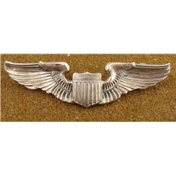 "WWII U.S. 3"" AAF PILOT'S WINGS-STERLING -CRIMP BACK"