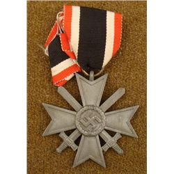 WWII NAZI WAR MERIT CROSS WITH SWORDS ON RIBBON 1939