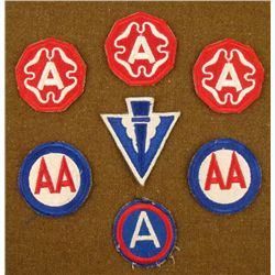 7 WWII PATCHES-3RD ARMY-ANTI-AIRCRAFT ARTL'Y-22ND ARMY