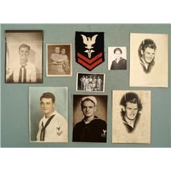 WWII LOT 8 US NAVAL SAILOR'S PHOTOS  NAVY MEDIC PATCH