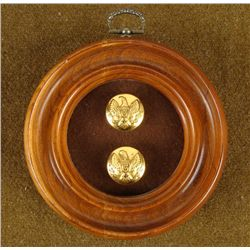 FRAMED PR CIVIL WAR CAVALRY BUTTONS MADE AS CUFF LINKS
