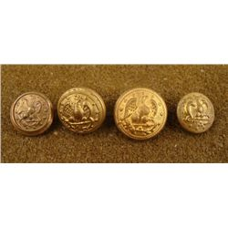 4 Civil War Naval Original Gilt Buttons Eagle, Anchor