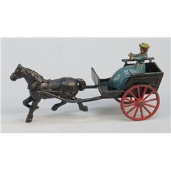 Antique Cast-Iron Wilkins Horse Drawn Buggy w/ Lady