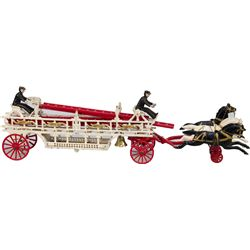 Early Large Cast-Iron Arcade Toys Horse Drawn Fire Ladd