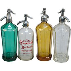 Lot Of 4 Early Glass Seltzer Bottles: