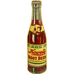 "Large ""Howel's Root Beer"" Bottle Shaped Embossed Tin"